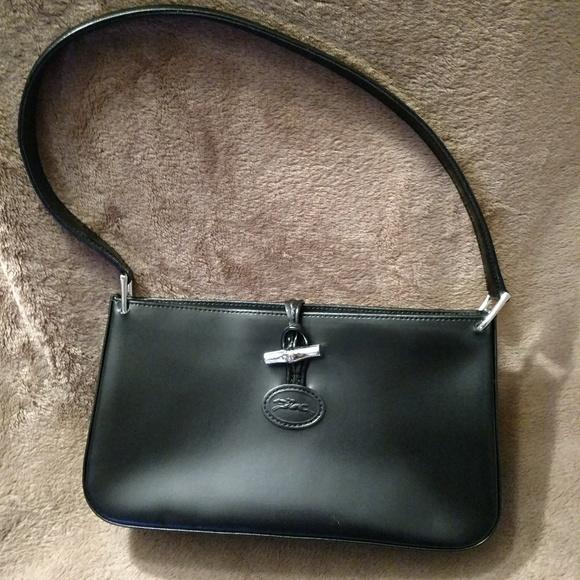 Longchamp black leather Roseau shoulder bag(small)